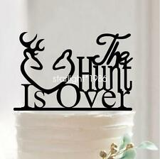 The Hunt Is Over Funny Deer Acrylic Wedding Anniversary Party Cake Topper Decor