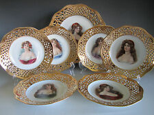 Schumann Bavaria Dresden Porcelain Portrait Plate Dessert Set,Reticulated Gold