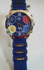 Silver Finish Blue Band 5 Time Zone With Date Men's  Fashion Rapper Style Watch
