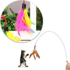 Kitten Cat Pet Toy Wire YOAC Chaser Wand Teaser Feather With Bell Beads Play Fun