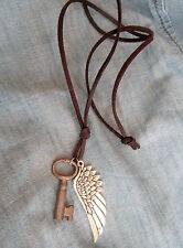 Mens ANTIQUE SKELETON KEY SILVERTONE HARLEY WING on LEATHER CORD Surfer NECKLACE
