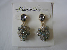 Kenneth Cole Gold Tone Crystal Cluster Drop Earrings