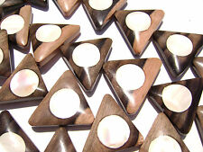 DJ-15 Ebony Wood Inlaid Makabibi MOP Shell Bead Component Triangle Handmad Large