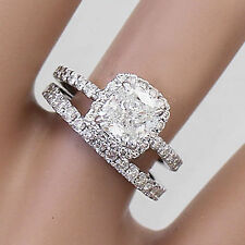 14k Solid White Gold Cushion Cut Diamond Engagement Ring And Band 3.00ct