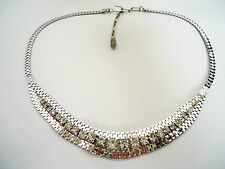 Vintage 1960's Silver Tone Collar Necklace with Clear Diamanté Rhinestones.