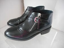 Womens TOP SHOP stylish black leather ankle booties shoes sz 38