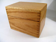 Antique 1950s Fingerjoined Solid Oak Desk-Top Index Card Filing Box.