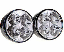 2 ROUND POWERFUL FRONT BULL NUDGE BAR & SPOT SMD LED LIGHTS 12V DAY LAMP CAR SUV