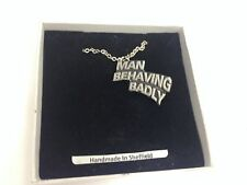 "Man Behaving Badly  Emblem on Silver Platinum Plated Necklace 18"" refa86"