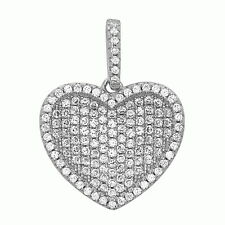 Gorgeous 925 Sterling Silver Heart Pendant White Crystals CZ Hand Set