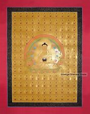 "108 Shakyamuni Buddha Gold Buddhist Tibetan 35"" x 27"" Thangka Scroll Painting"