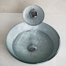Tempered Hand Paint Glass Basin Vanity Bowl Vessel with matching faucet GFHWS53W