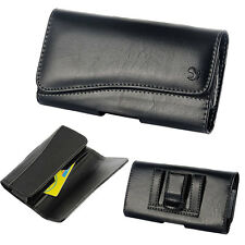 For iPhone 7 Plus~Black Leather Pouch Executive Wallet Case Belt Loop Holster