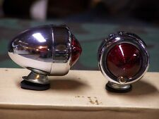 Knucklehead, Panhead, Shovelhead Chrome Bullet Lights. Red Lens