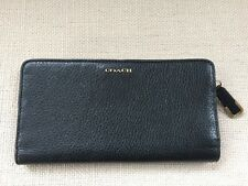 NWT! Coach Smooth Leather Skinny Wallet Black with Gold Accents Retail $148