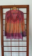 ANTHROPOLOGIE HALE BOB CABANA LADIES SILK BEADED TUNIC TOP MULTICOLOR OMBRE Sz M