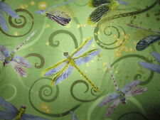 Dragonfly Dance Dragon Fly Metallic Gold Thread Light Green Cotton Fabric FQ