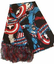 Marvel Comics Captain America Silk Fabric Decorative Costume Scarf With Tassels