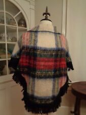 STRATHTAY ORIGINALS mohair & wool plaid poncho made in Scotland