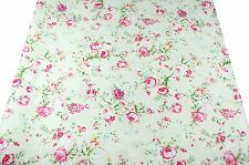 ~ FQ Vintage Style Pink Rose on Cream Yellow 100% Cotton Fabric ~ Free Shipping