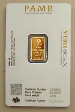 Pamp Suisse 2.5 Gram 24K .9999 Pure Gold Bullion Art Bar