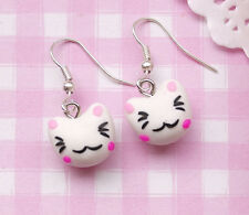 Cute LUCKY CAT Kawaii Kitsch Clay Costume Drop Dangle Earrings - UK SELLER!