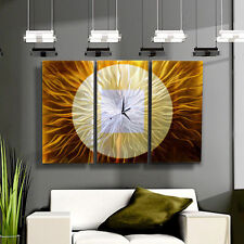 Gold Modern Metal Wall Clock Functional Art Hanging Timepiece- Golden Paradigm