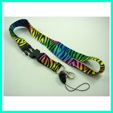 Rainbow Zebra Lanyard Keychain ID card holder MP3/4 cell phone holder Neck strap