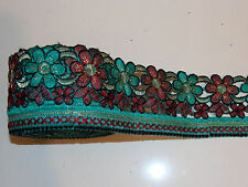 gold TEAL WINE asian embroidery trimming costume ribbon festival boho applique