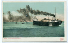 Great Lakes Ore Steamer Ship Tug Boats Daily Procession 1907c postcard