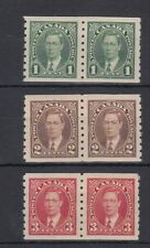 #238, 239,240 coil pairs Mufti issue Vf Mh Canada mint George Vi Cat$46