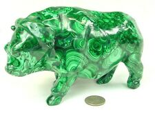 "BUTW Hand Carved Zaire African 6.8"" Malachite Cape Buffalo Lapidary 0377P ab"