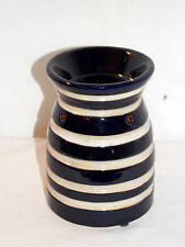 NEW NAVY BLUE AND WHITE STRIPED TEALIGHT CANDLE TART BURNER  OIL WARMER