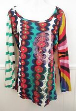 Desigual Womens Knit Top Tunic T-Shirt Colorful Rainbow Mod Medium Scoop Neck