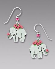 Sienna Sky ELEPHANT with Flowers EARRINGS STERLING Silver USA Made - Gift Boxed