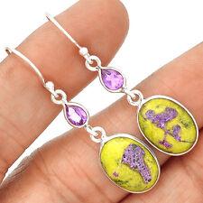 Atlantisite & Amethyst 925 Sterling Silver Earrings Jewelry SE134823
