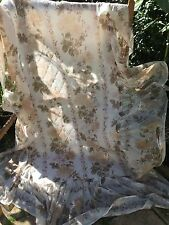 """VINTAGE PRELOVED EARLY 1970'S NYLON FLORAL RUFFLED BEDSPREAD 34"""" X 72"""" + 19"""" RUF"""