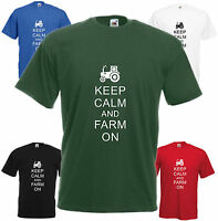 Keep Calm & Farm On T-shirt Funny Xmas Gift Present Top Young Farmer Tractor Tee