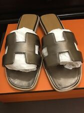 Hermes Oran Metallic Bronze Leather Slides Sandals Size 37, US 7 RECEIPT!