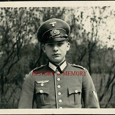PHOTO WW2 WEHRMACHT VERY YOUNG GERMAN SOLDIER UNIFORME CASQUETTE OBERGEFREITER++