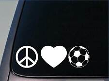"Peace love Soccer sticker *H84* 8"" vinyl goalie knee pads"