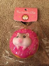 THE SWEETS LIFE HAMSTER RASPBERRY SPRINKLE SQUISHY DOUGHNUT EAR PLUG CHAIN NIP