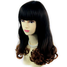 Bouncy Lovely Black Brown & Red Long Curly Lady Wigs Dip-Dye Ombre hair WIWIGS.