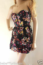 NWT bebe black floral cutout back strapless bustier flare top dress L large 10