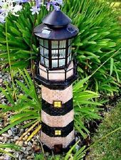 "39"" Decorative Garden Solar Light Powered Lighthouse (Green/Ivory)"