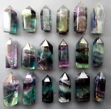 644g 18pcs NATURAL Bright-coloured FLUORITE CRYSTAL DT WAND POINT HEALING