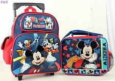 "Kids Boys Mickey Mouse and Friends 12""  School Rolling Backpack Plus Lunch Bag"