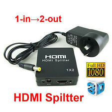 1 IN 2 OUT HDMI Splitter Duplicator Amplifier Full HD 1080P with AC Adapter