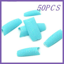 50pcs Teal Glitter French False Nail Tips FN0058+1 Free Glue
