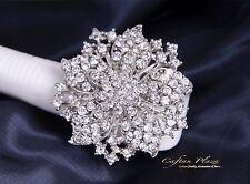 Wunderschöne XL große Brosche Braut Strass Kristall im Vintage Silber Weiss